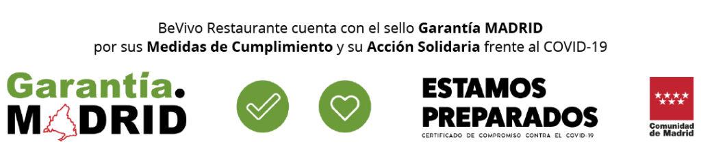 Bevivo Restaurante cuenta con el sello Garantía Madrid por su Medidas de Cumplimiento y Acción Solidaria frente al COVID-19